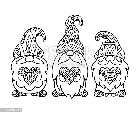 istock style gnomes with hearts. Vector outline illustration. Template for coloring book. 1298287467