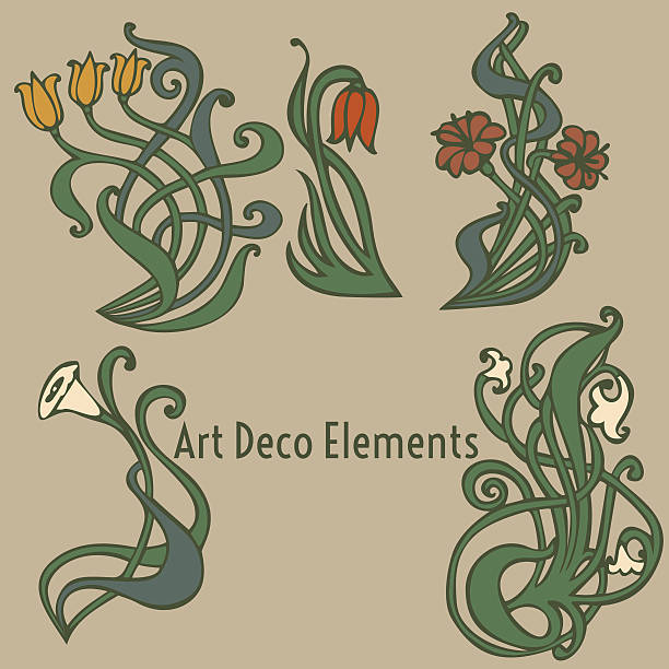 style labels on different topics for decoration and design - art nouveau stock illustrations, clip art, cartoons, & icons