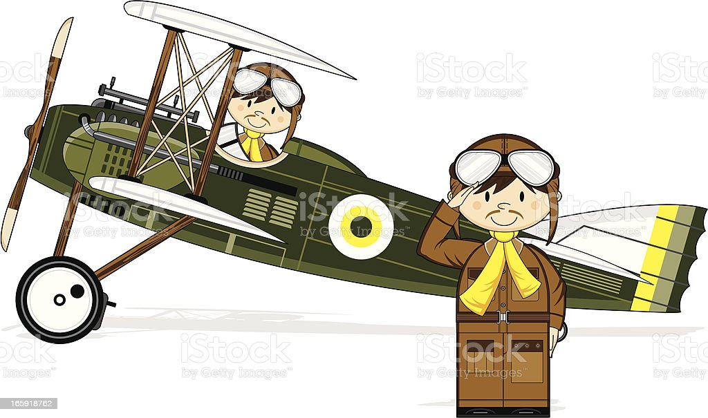 WW1 Style Military Biplane & Pilots royalty-free ww1 style military biplane pilots stock vector art & more images of adult