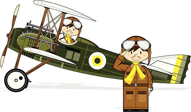 WW1 Style Military Biplane & Pilots Vector illustration of a WW1 Style Military Biplane with Pilots. flight suit stock illustrations
