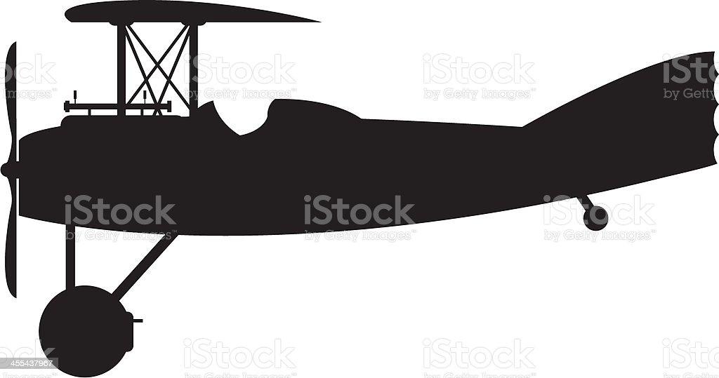 WW1 Style Military Biplane Silhouette vector art illustration