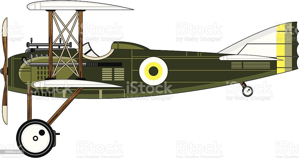 WW1 Style Military Biplane vector art illustration