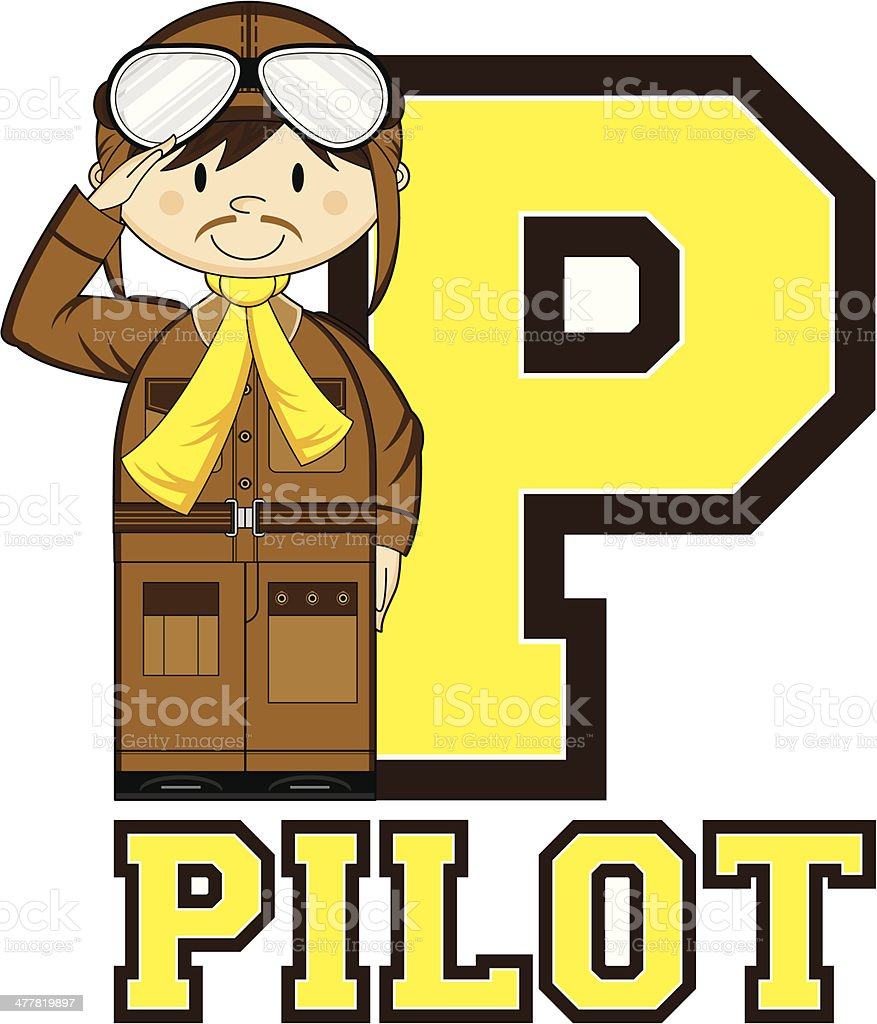 WW1 Style Pilot Learning Letter P royalty-free stock vector art