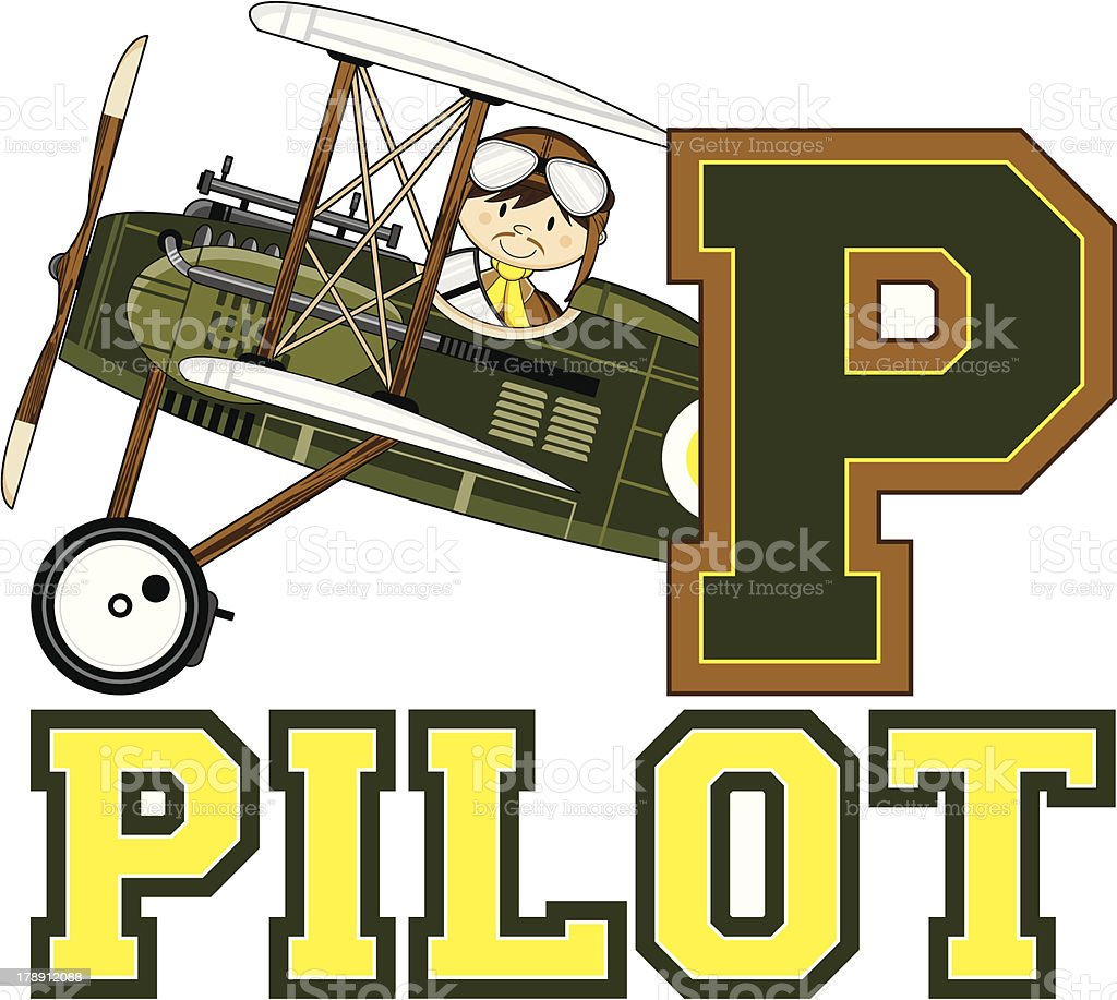 WW1 Style Pilots Learning Letter P royalty-free stock vector art