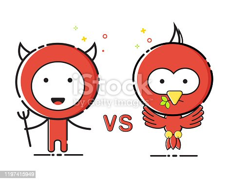 istock MBE Style Red Devil and Red Liver Bird. Cute Cartoon football club. 1197415949