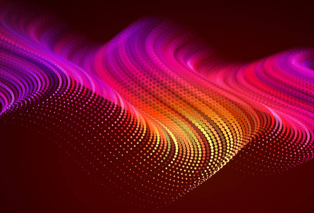 styleAbstract colorful digital landscape with flowing particles. Cyber or technology background. Red, pink, orange colors. vector art illustration
