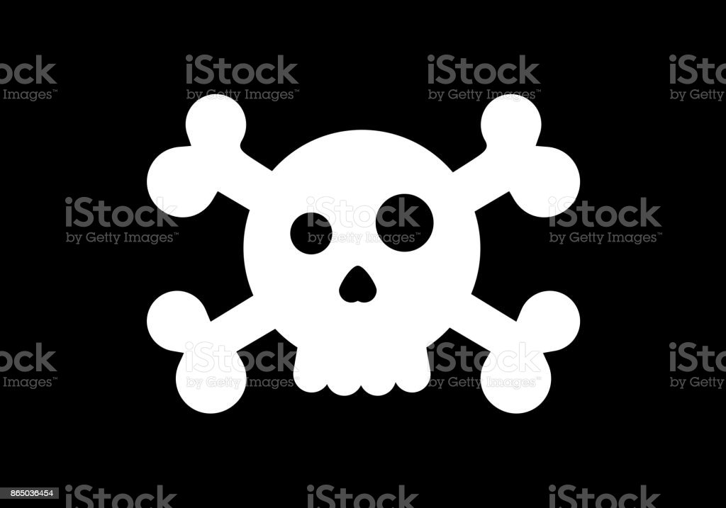 Styled skull in a pirate flag. Vector cartoon illustration vector art illustration