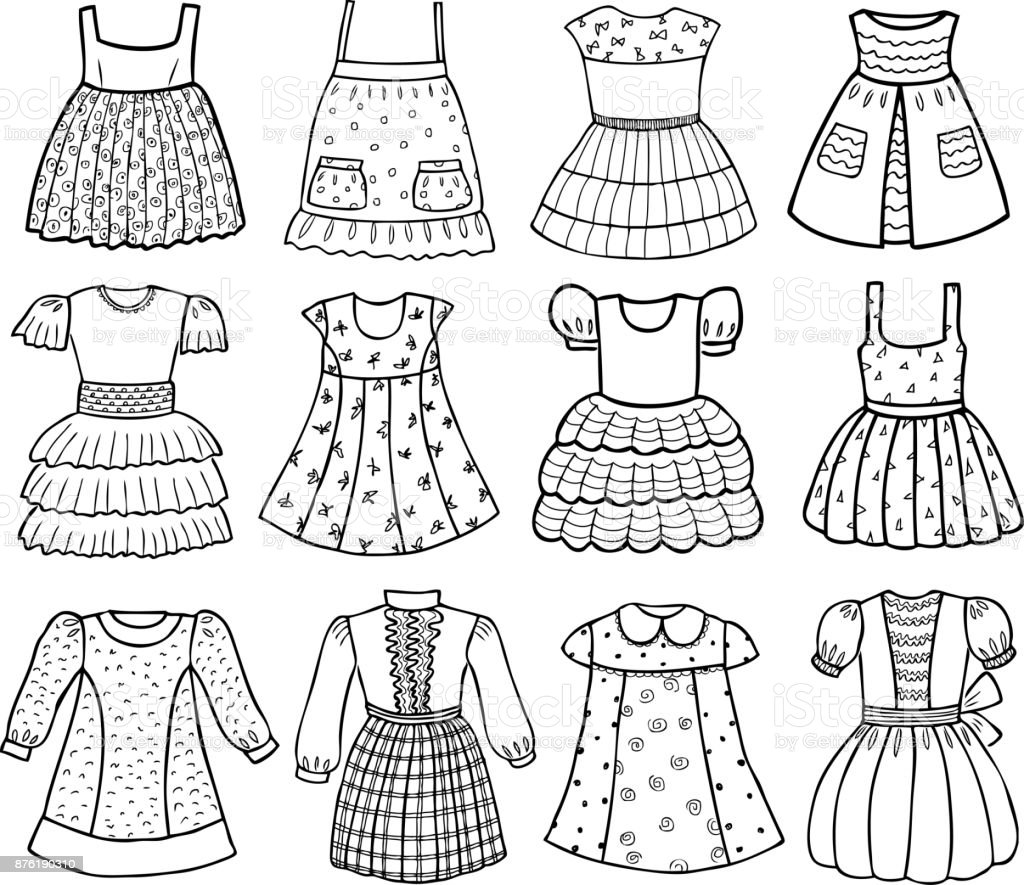 7955f4ea1 Ilustración de Estilos De Varios Vestidos Para Las Niñas y más ...