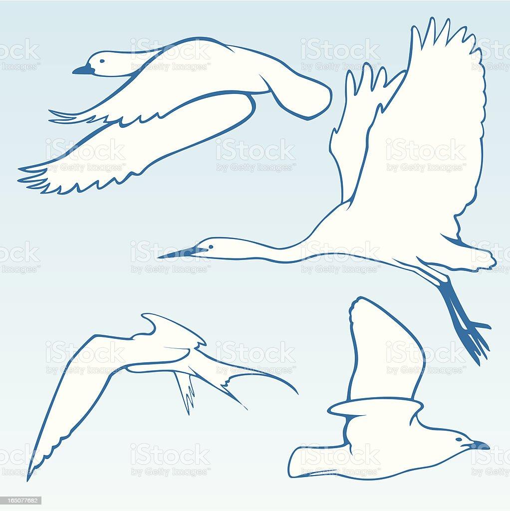 Stylised Birds In Flight royalty-free stock vector art