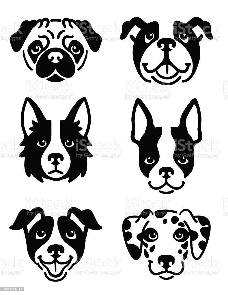 Stylised dog icons vector art illustration