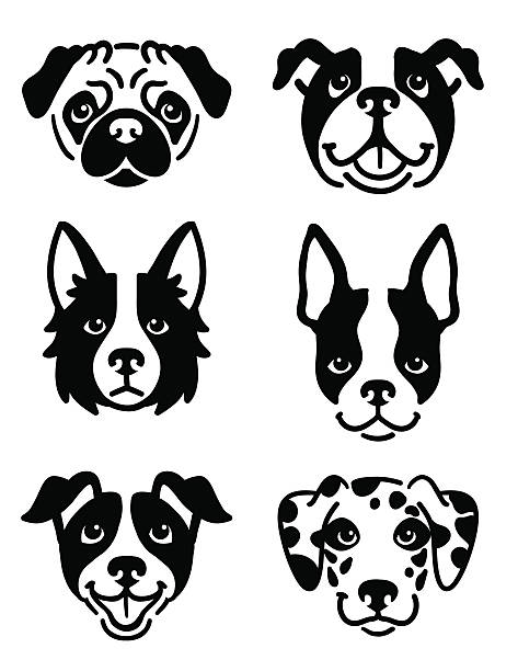 Stylised dog icons vector art illustration