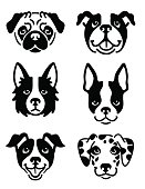 Stylised dog icons