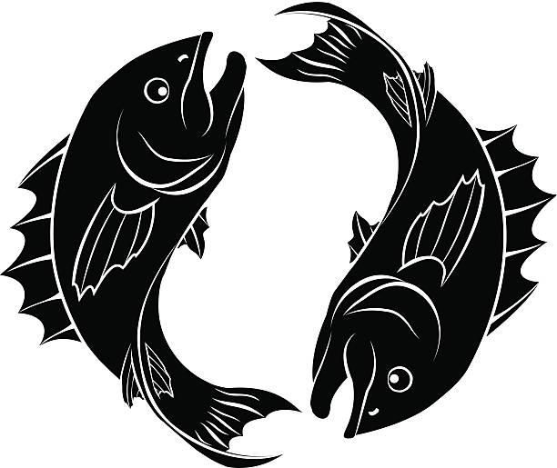 illustrations, cliparts, dessins animés et icônes de poisson stylisées illustration - pisces zodiac
