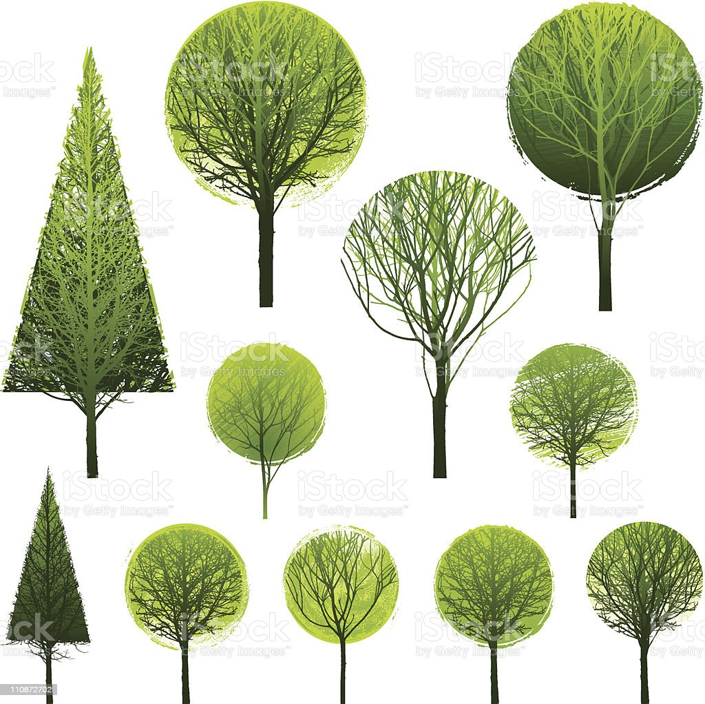 Stylised Simple Trees Stock Vector Art & More Images of Branch ...