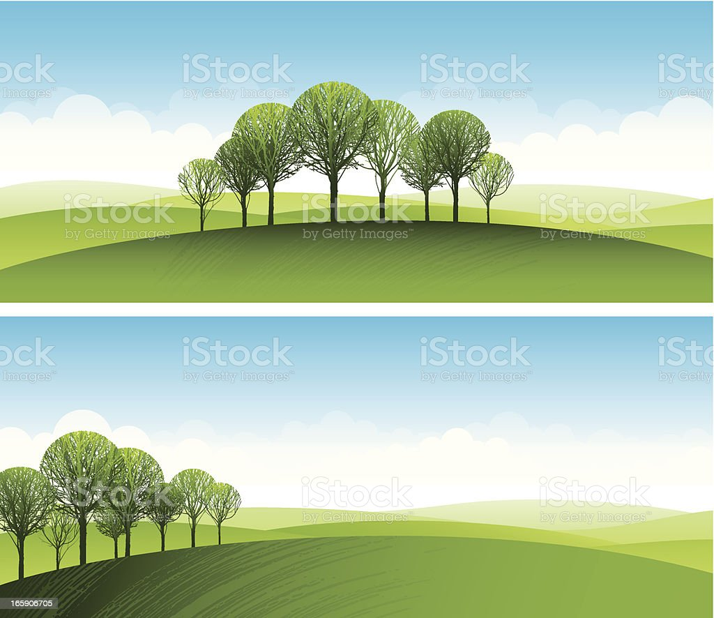 Stylised trees on green hills royalty-free stylised trees on green hills stock vector art & more images of beauty in nature