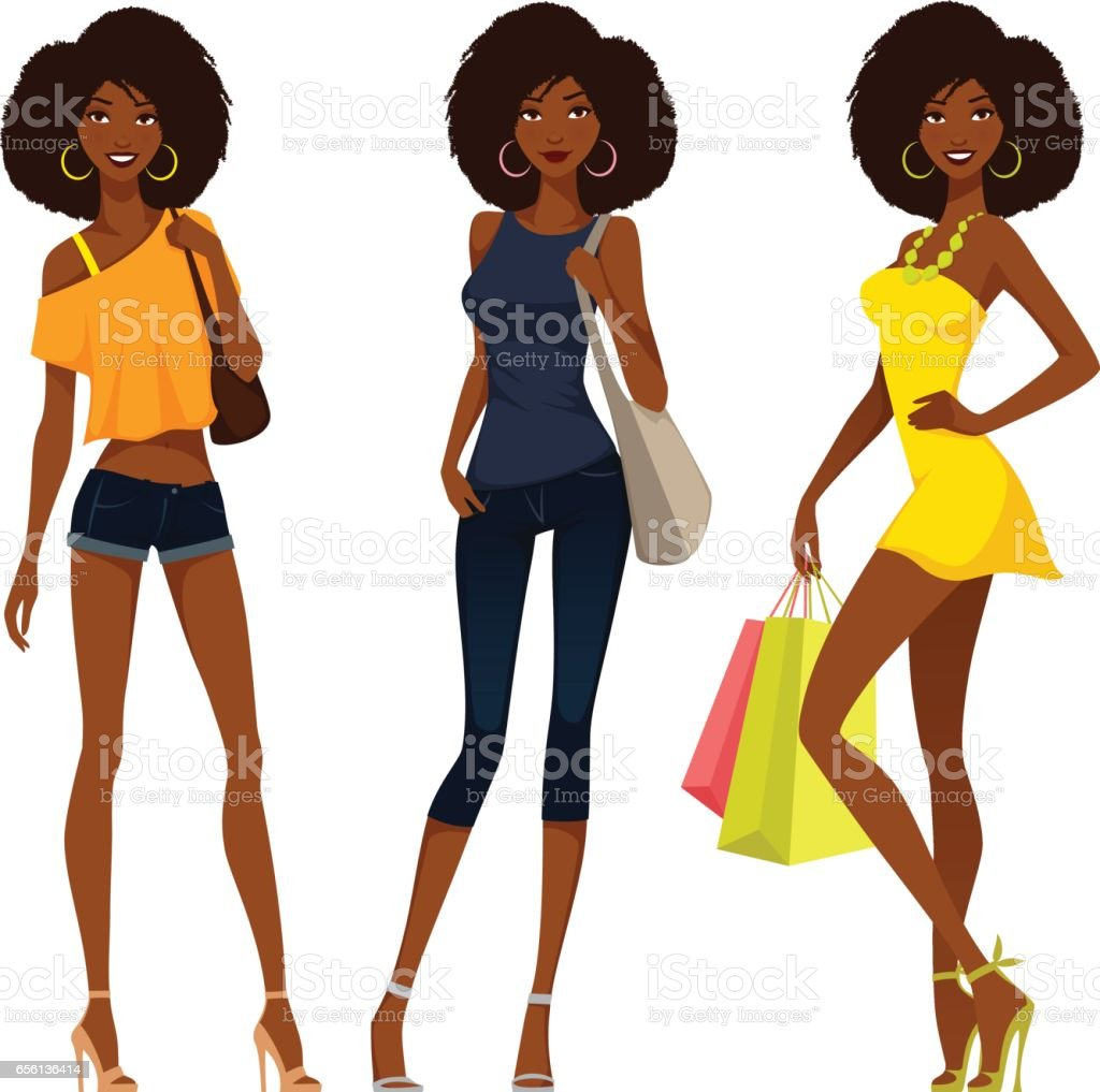 stylish African American girls in summer outfits vector art illustration