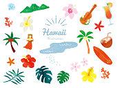 istock Stylish and cute summer motif illustrations (handwritten, tropical, aloha, Hawaii, fashion, travel, hula dance, ukulele) Fashionable and cute summer motif illustrations. handwritten, tropical, aloha, Hawaii 1327224689