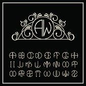 Stylish and graceful floral monogram design ,  line art logo
