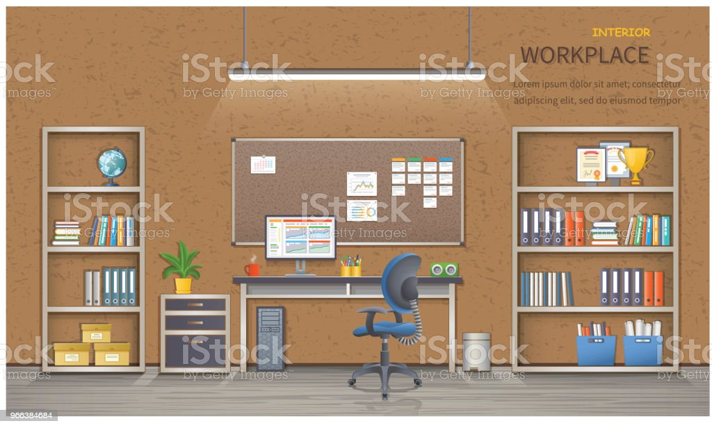 Stylish And Modern Office Workplace. Room Interior With Desk, Armchair,  Monitor, Shelves, Office Supplies, Flowerpot, Folders, Books And Board For  Notes.