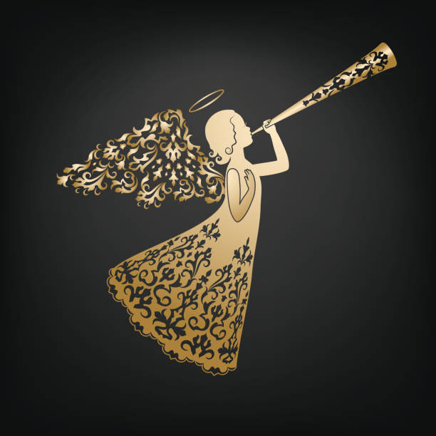 Stylish angel with floral wings and Nimbus vector art illustration