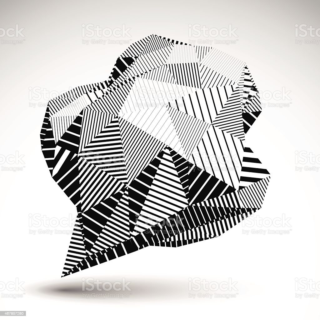 Stylish asymmetric contrast figure with parallel lines. Striped vector art illustration