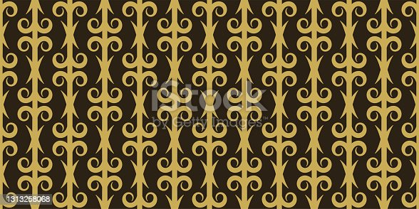 istock Stylish background pattern with floral gold ornaments on a black background. Seamless pattern, texture 1313258068