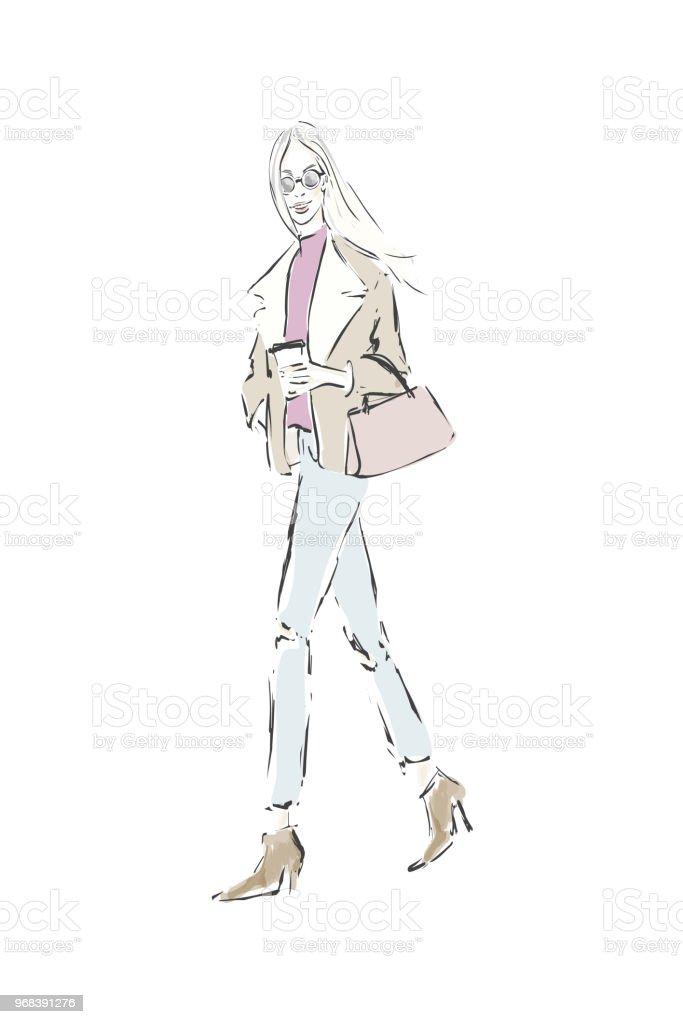 スタイリッシュな美しい少女ファッション イラストスケッチ