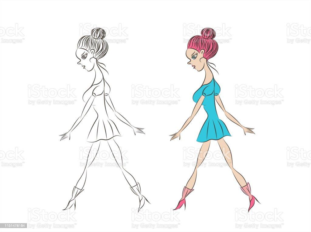 Belle Fille élégante En Robe Bleue Femme De Mode Dessin