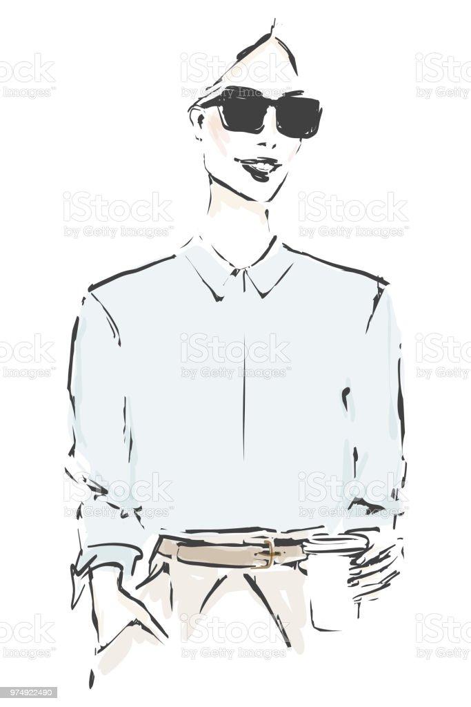 Style belle jeune femme avec des lunettes de soleil. Mode pour fille avec  une tasse 1ca672e9956c
