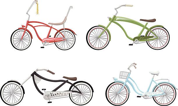 stilvolle fahrräder - beachcruiser stock-grafiken, -clipart, -cartoons und -symbole