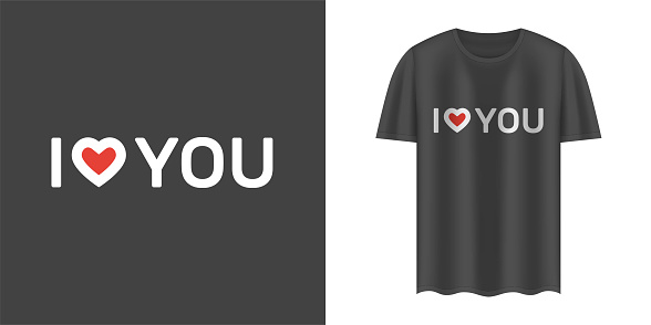 """Stylish black t-shirt and apparel trendy design with """"I love you"""" text. Textiles, print, t-shirts, web. Typography, print, vector illustration."""