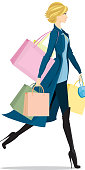 Stylish female shopper and carrying a lot of packages and boxes. No gradients used.