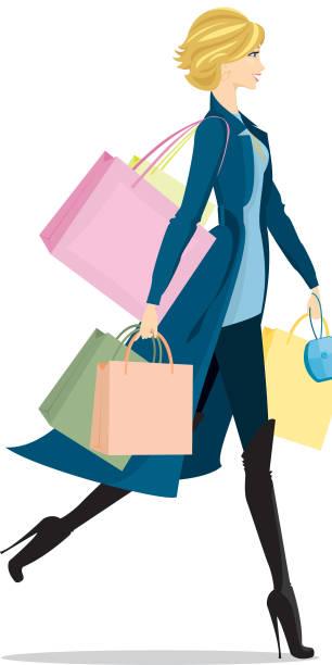 Stylish Blonde Shopper vector art illustration