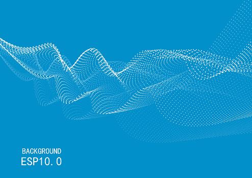 Stylish blue dot curve technology vector background