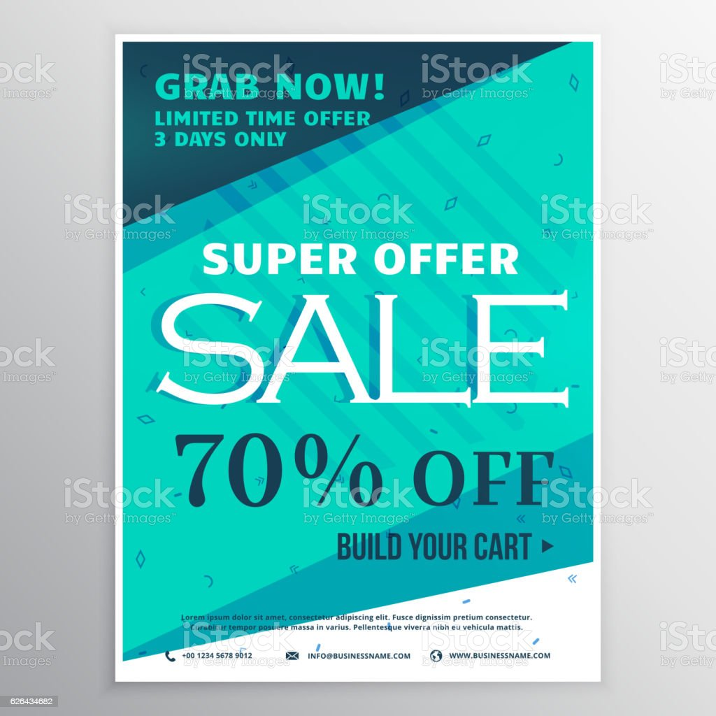 stylish blue super sale banner brochure flyer template for marke