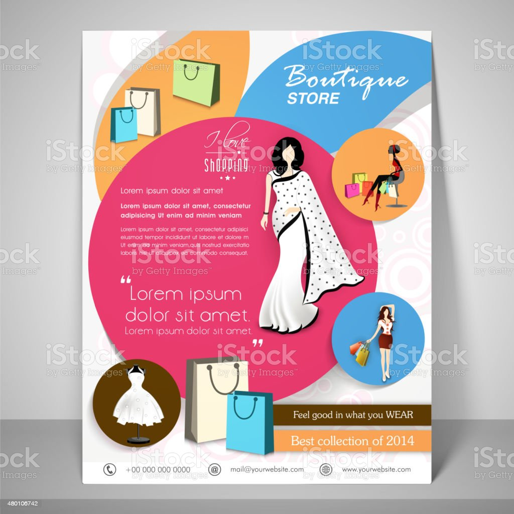 Stylish Brochure Flyer And Template For Boutique Stock