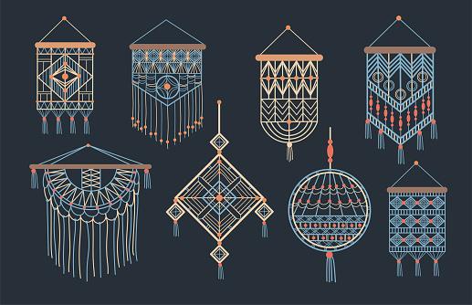 Stylish bundle of macrame wall hangings