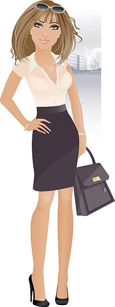 stilvolle business mädchen - laptoptaschen stock-grafiken, -clipart, -cartoons und -symbole