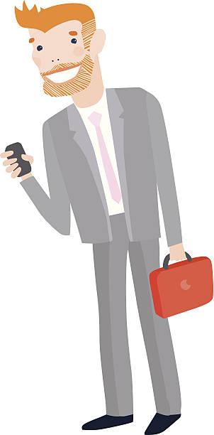 elegante geschäftsmann in anzug mit laptop - laptoptaschen stock-grafiken, -clipart, -cartoons und -symbole