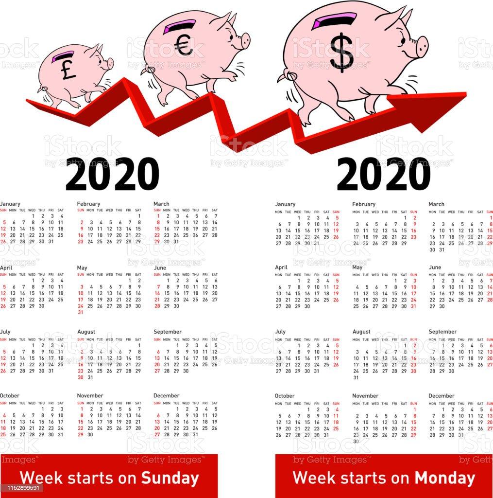 Calendario Moda 2020.Vetores De Calendario A Moda Porco Cofrinho Para 2020