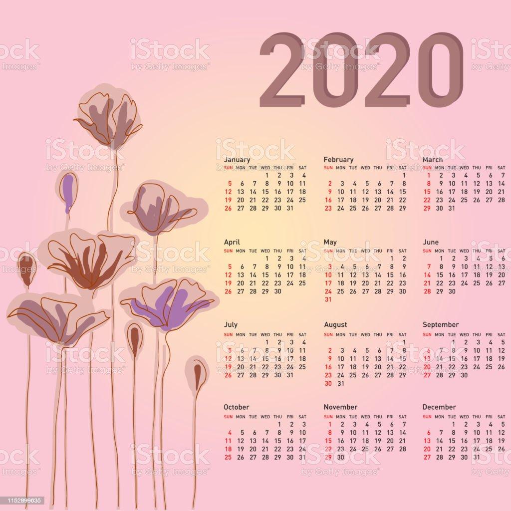 Calendario Moda 2020.Vetores De Calendario A Moda Com Flores Para 2020 A Semana