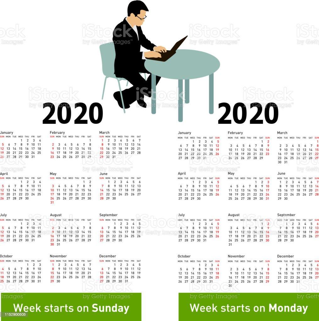 Calendario Moda 2020.Vetores De Calendario A Moda Com O Homem Da Silhueta Que