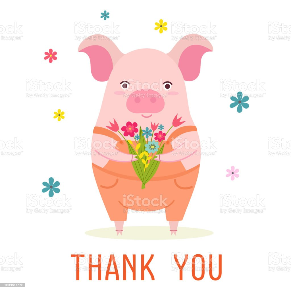 Stylish Card Or Banner With A Cute Cartoon Pig And Bouquet Of