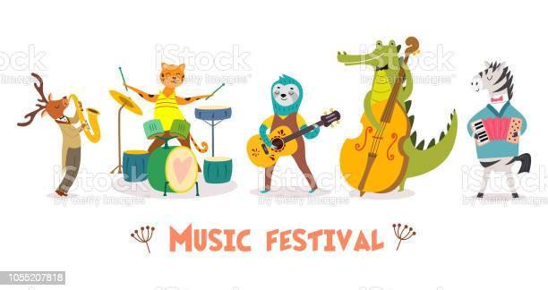 Stylish card or poster with cute animal band in cartoon stylevector vector id1055207818?b=1&k=6&m=1055207818&s=612x612&h=styfy13mka9ij5ujkm ex jqaj7itsvcprivq4reho8=