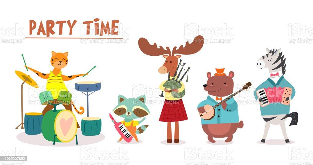 スタイリッシュなカードや漫画のスタイルでかわいい動物バンド ポスター音楽祭で動物のミュージシャンとベクトル図です アライグマのベクターアート素材や画像を多数ご用意 Istock