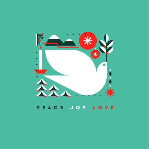 ilustrações de stock, clip art, desenhos animados e ícones de stylish card with holiday greetings and symbols of christmas - alegria