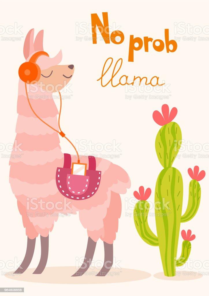 Stylish cartoon lama with cactus. Vector card. royalty-free stylish cartoon lama with cactus vector card stock vector art & more images of alpaca