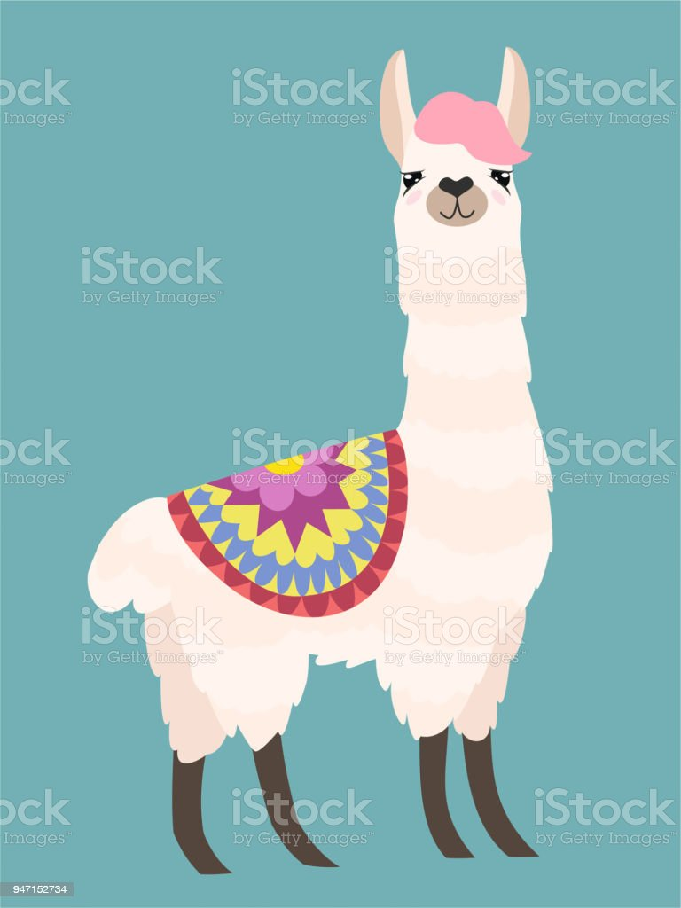 Stylish cartoon lama with ornament design. Vector illustration. vector art illustration