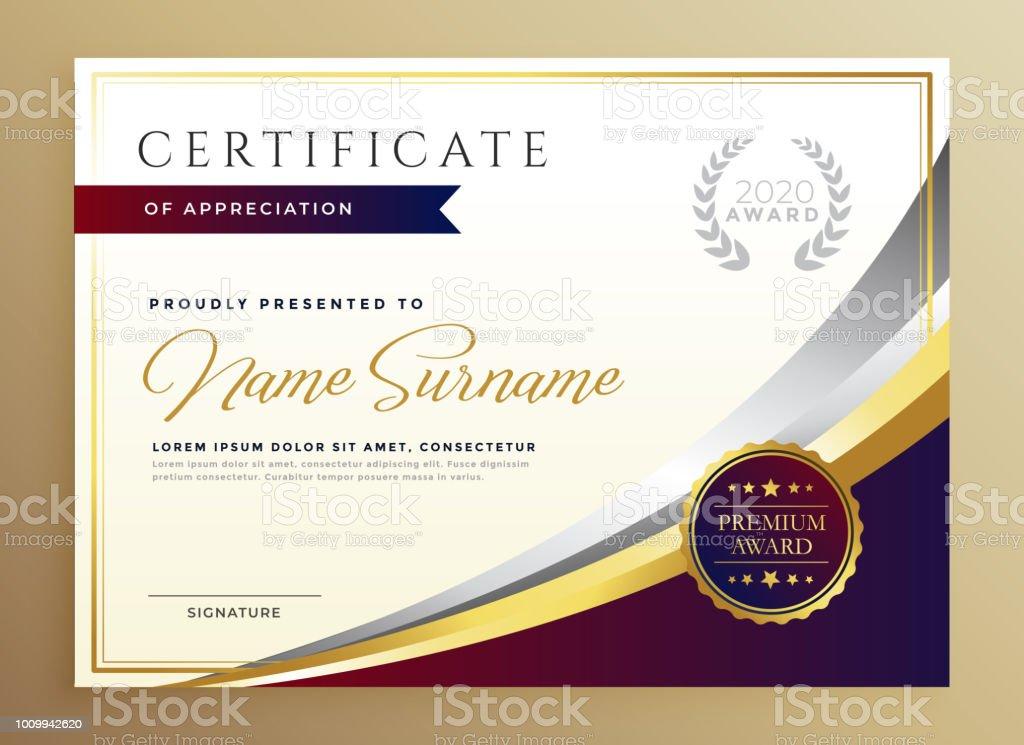 Stylish Certificate Template Design In Golden Theme Stock Vector Art