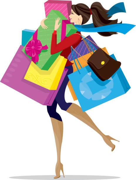 Stylish Christmas Shopper vector art illustration